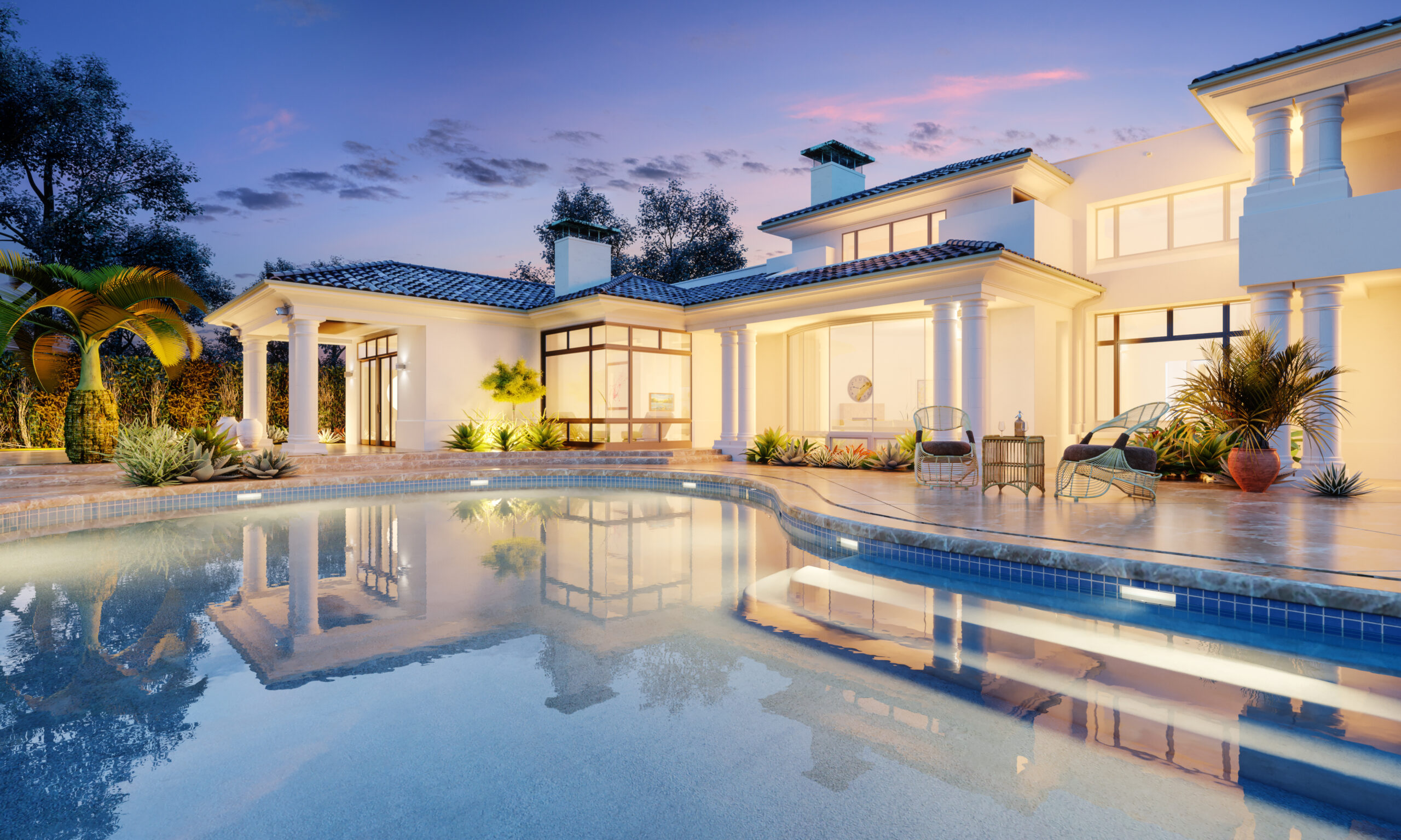Expensive private villa. Swimming pool in a private house. Evening in a country house. Mansion exterior. Luxury villa with swimming pool.